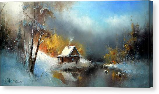 Lodge In The Winter Forest Canvas Print