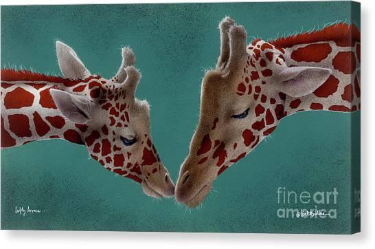 Giraffes Canvas Print - Lofty Lovers... by Will Bullas