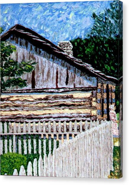 Log Cabin At Conner Prairie Canvas Print by Stan Hamilton
