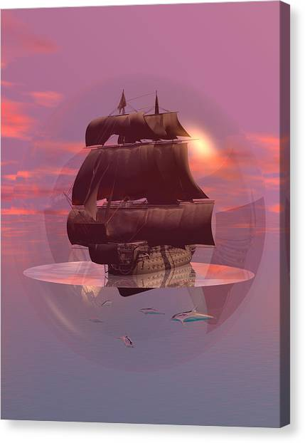 Log Wind Sse 5mph Seas Calm Canvas Print by Claude McCoy