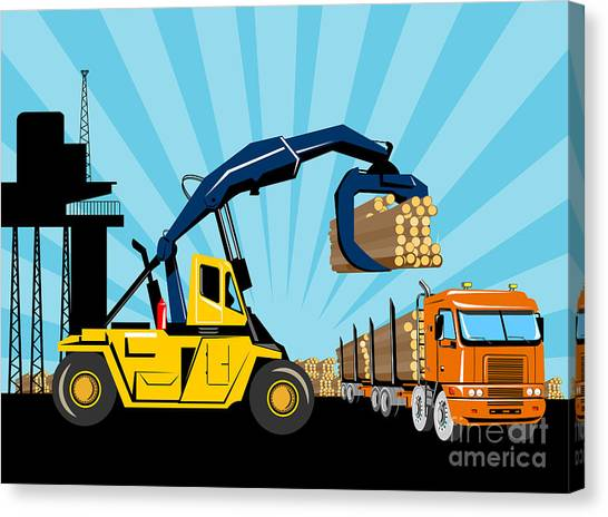 Forklifts Canvas Print - Logging Truck by Aloysius Patrimonio