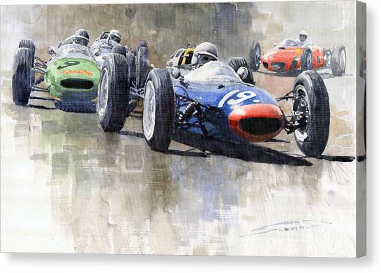 Ireland Canvas Print - Lola Lotus Cooper Ferrari Datch Gp 1962 by Yuriy Shevchuk