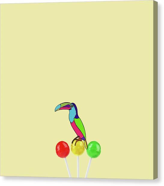 Minimal Canvas Print - Lolipop Bird by Caterina Theoharidou