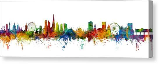 London Skyline Canvas Print - London And Brighton Skylines Mashup by Michael Tompsett