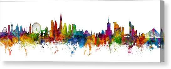 London Skyline Canvas Print - London And Warsaw Skylines Mashup by Michael Tompsett