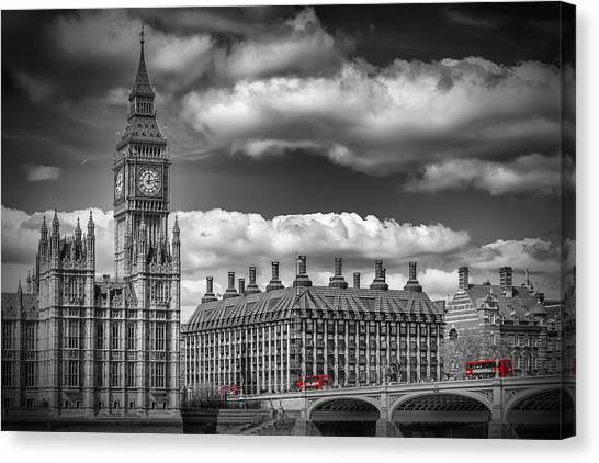 Palace Of Westminster Canvas Print - London Big Ben And Red Bus by Melanie Viola