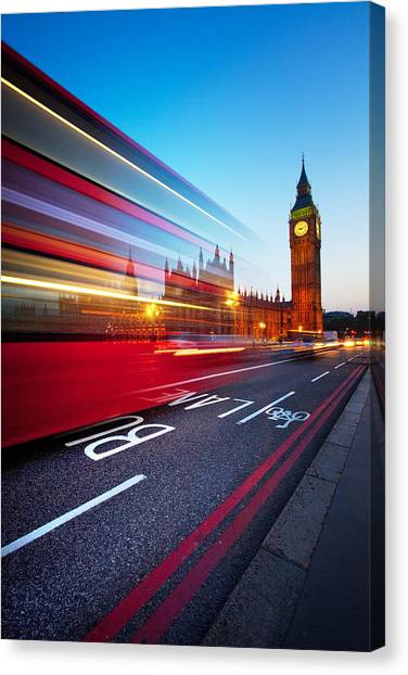 Night Lights Canvas Print - London Big Ben by Nina Papiorek
