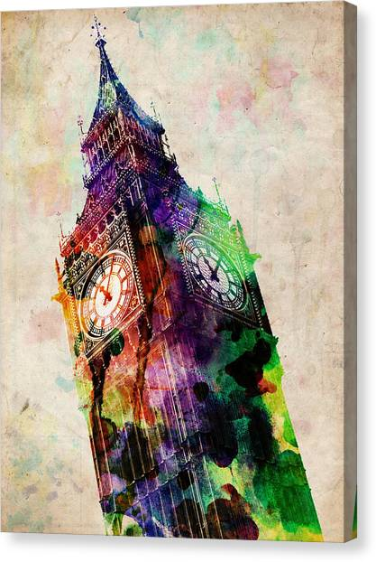Tower Canvas Print - London Big Ben Urban Art by Michael Tompsett