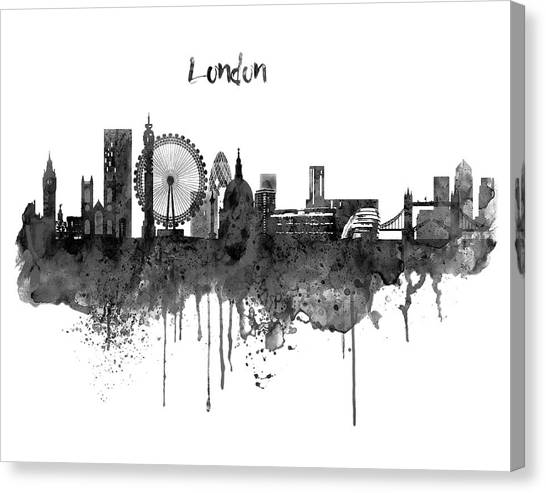 United Kingdom Canvas Print - London Black And White Skyline Watercolor by Marian Voicu