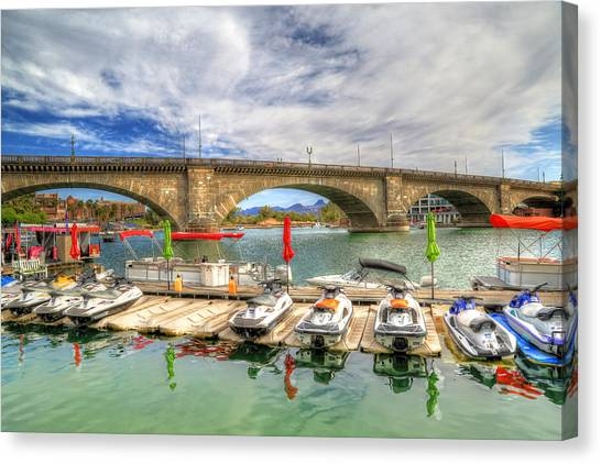 Jet Skis Canvas Print - London Bridge View by Donna Kennedy