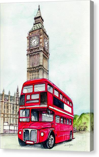 London Canvas Print - London Bus And Big Ben by Morgan Fitzsimons