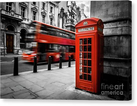 London Bus And Telephone Box In Red Canvas Print