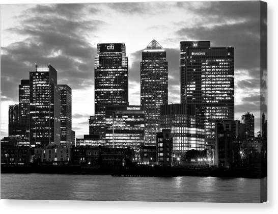 London Canary Wharf Monochrome Canvas Print