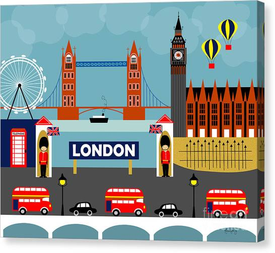 London Canvas Print - London England Horizontal Scene - Collage by Karen Young