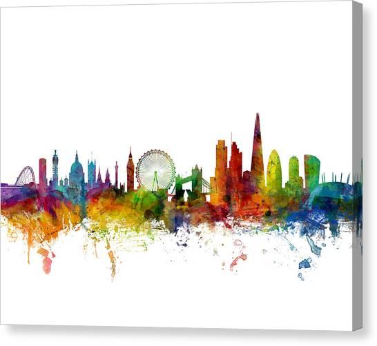 London Skyline Canvas Print - London England Skyline 16x20 Ratio by Michael Tompsett