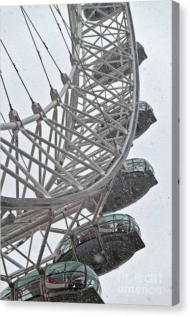 London Eye And Snow Canvas Print