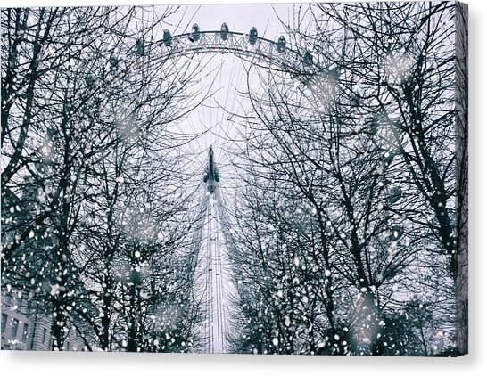 London Eye Canvas Print - London Eye Snow by Martin Newman