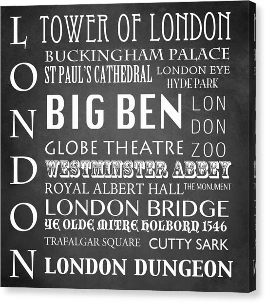 Famous Places Canvas Print - London Famous Landmarks by Patricia Lintner