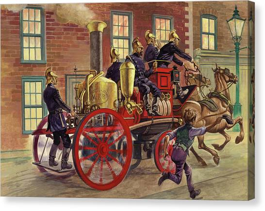 Street Fighter Canvas Print - London Fire Engine Of Circa 1860 by Peter Jackson