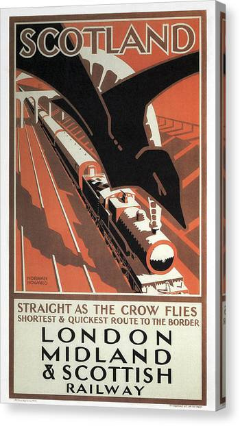 Trainspotting Canvas Print - London Midland And Scottish Railway Vintage Travel by Daniel Hagerman