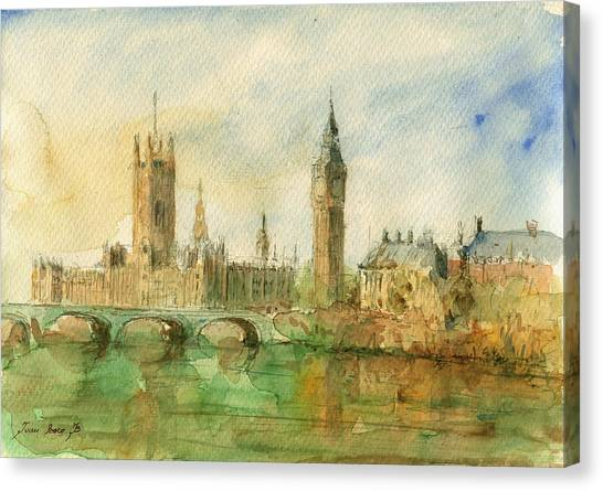 Parliament Canvas Print - London Parliament by Juan  Bosco