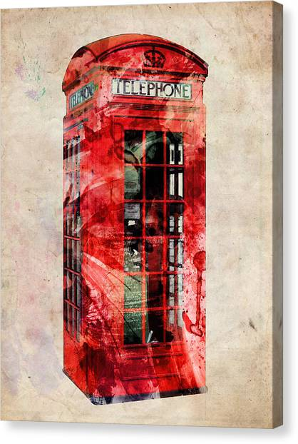 United Kingdom Canvas Print - London Phone Box Urban Art by Michael Tompsett