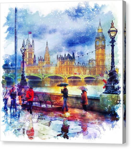 City Landscape Canvas Print - London Rain Watercolor by Marian Voicu