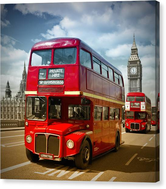 Palace Of Westminster Canvas Print - London Red Buses On Westminster Bridge IIi by Melanie Viola