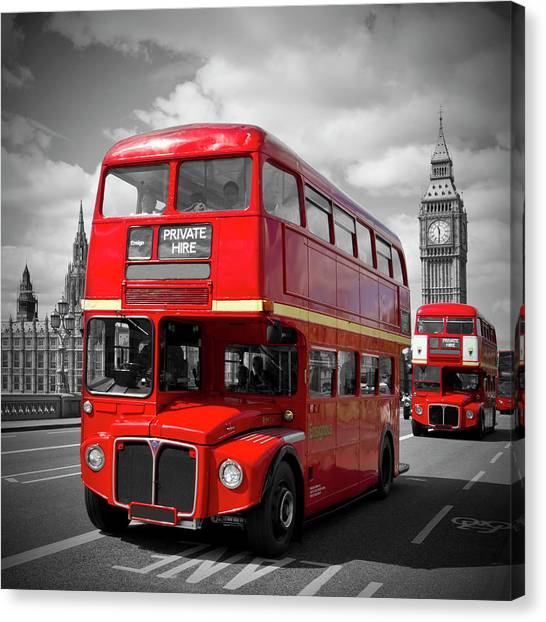 London Canvas Print - London Red Buses On Westminster Bridge by Melanie Viola