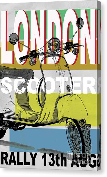 London Scooter Rally Canvas Print by Edward Fielding