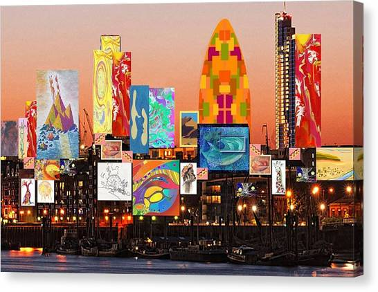 London Skyline Collage 2 Canvas Print