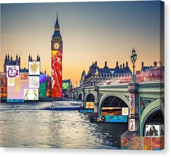 London Skyline Collage 3 Inc Big Ben, Westminster  Canvas Print