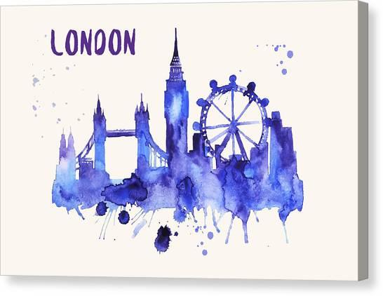 London Skyline Watercolor Poster - Cityscape Painting Artwork Canvas Print