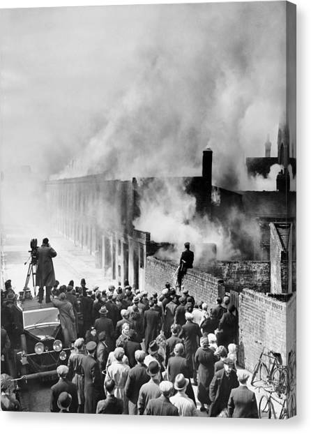Pollution Canvas Print - London Slum Clearance by Underwood Archives