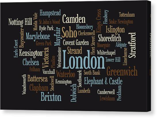 United Kingdom Canvas Print - London Text Map by Michael Tompsett