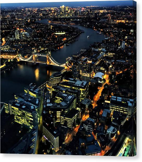 Canvas Print featuring the photograph London Tower Bridge At Night by Chris Feichtner