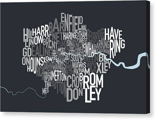London Canvas Print - London Uk Text Map by Michael Tompsett