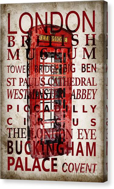 London Eye Canvas Print - London Vintage Poster Red by Delphimages Photo Creations