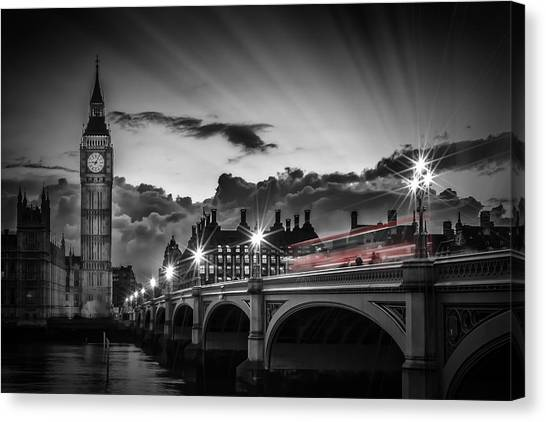 Palace Of Westminster Canvas Print - London Westminster Bridge At Sunset by Melanie Viola