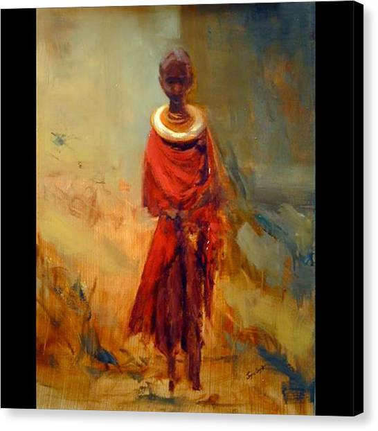 Lone African Girl Canvas Print