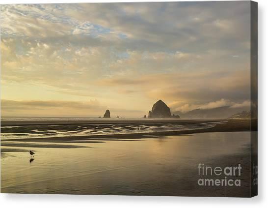 Sunset At Haystack Rock Canvas Print