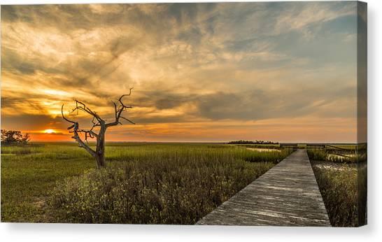 Lone Cedar Dock Sunset - Dewees Island Canvas Print