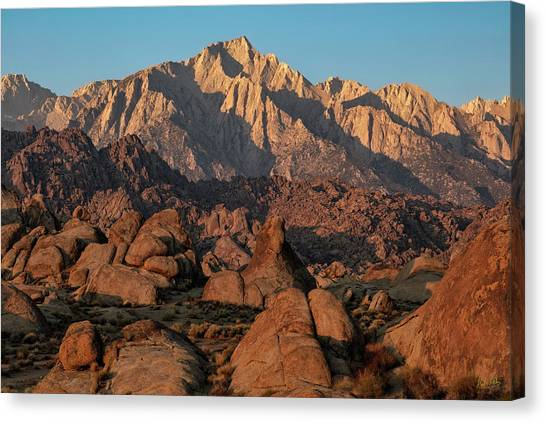 Canvas Print featuring the photograph Lone Pine Peak At Sunrise by Stuart Gordon