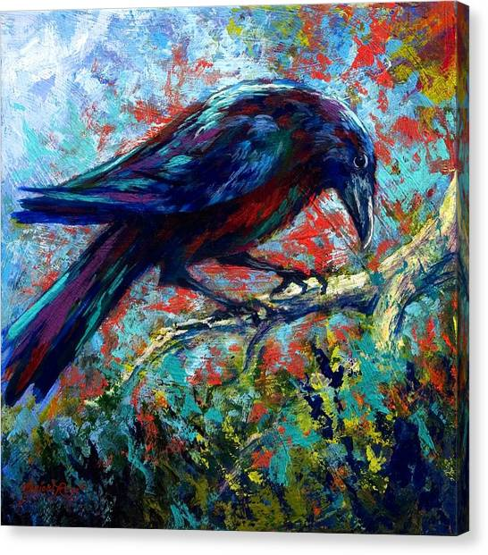 Ravens Canvas Print - Lone Raven by Marion Rose