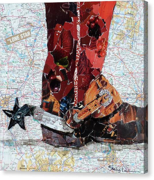 Torn Paper Collage Canvas Print - Lone Star Spur by Suzy Pal Powell