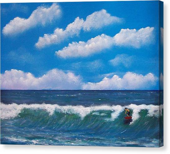 Lone Surfer Canvas Print by Tony Rodriguez