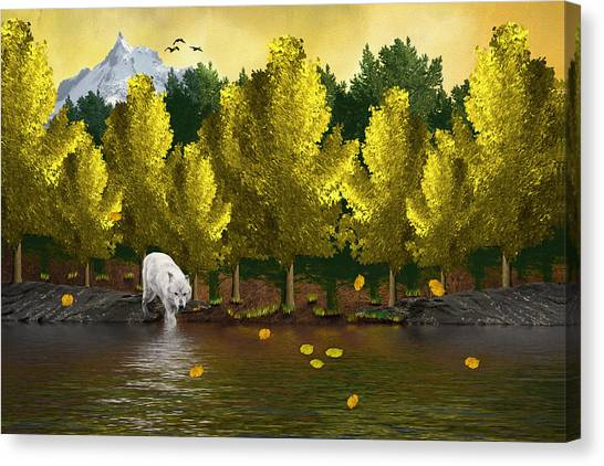 Lone Wolf At The River Canvas Print
