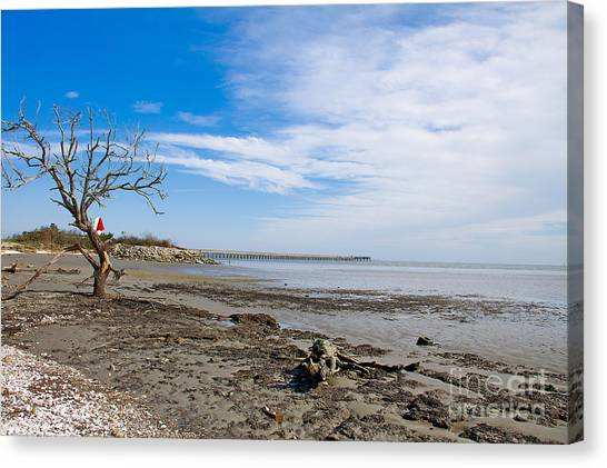 Canvas Print featuring the photograph Lonely Beach At Christmas by Sandy Adams
