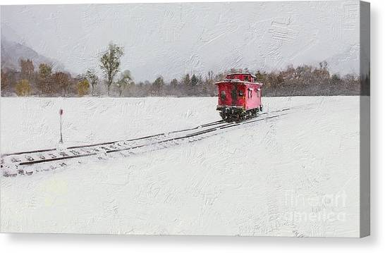 Linda King Canvas Print - Lonely Caboose by Linda King
