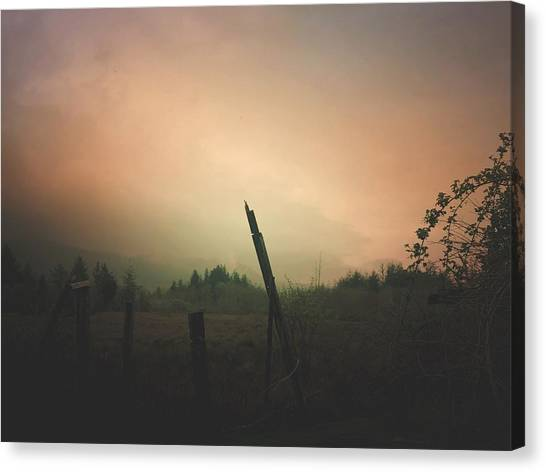 Canvas Print featuring the digital art Lonely Fence Post  by Chriss Pagani